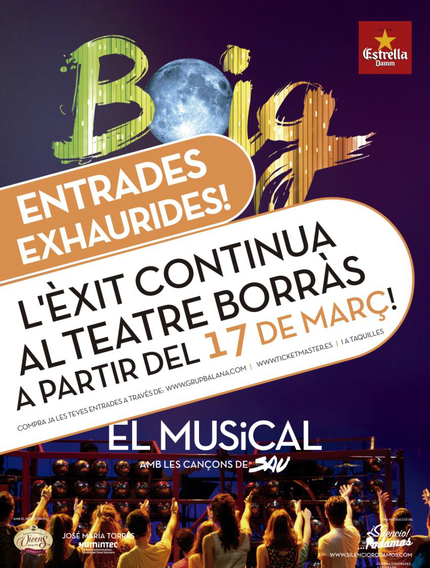 El musical Boig per tu, de Sau, pasa a representarse en el Teatre Borràs