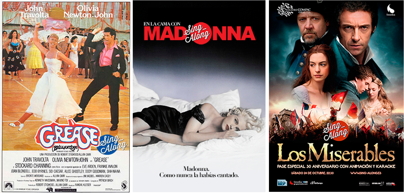 Grease, En la cama con Madonna y Los Miserables con Sing-Along